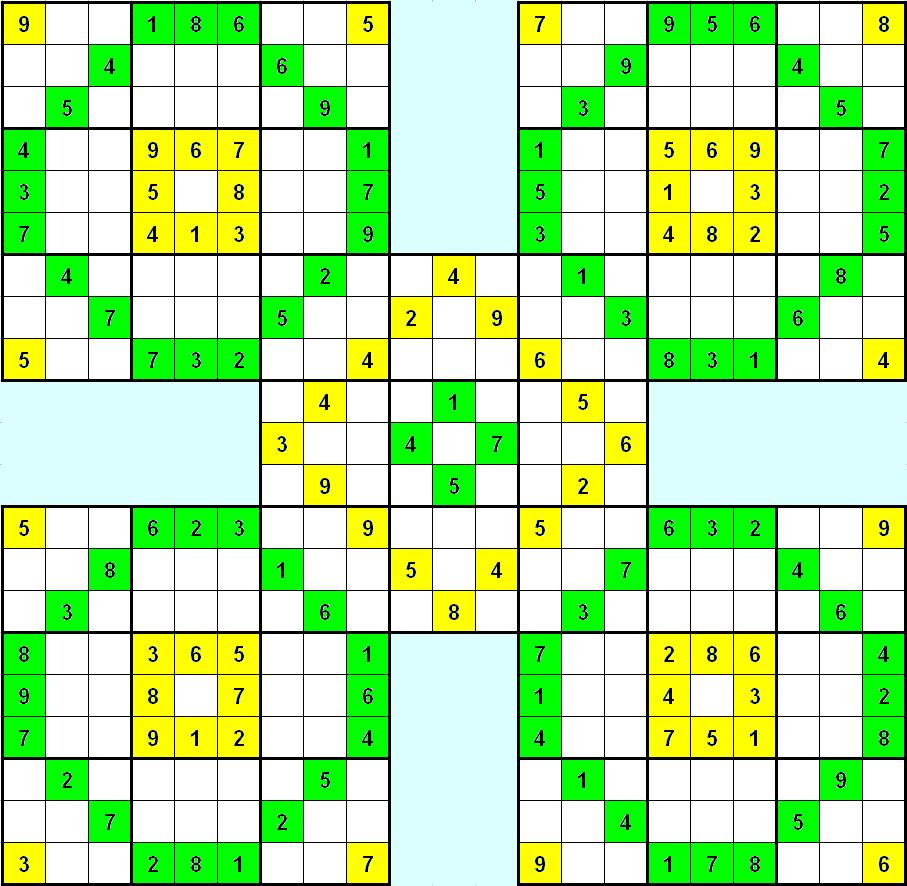 Free Printable Samurai Sudoku Puzzles